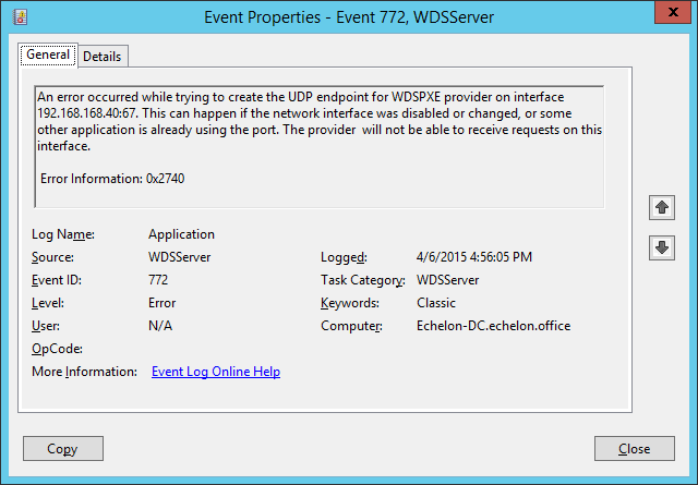 Windows Deployment Services – Event ID 772 and Capture Boot